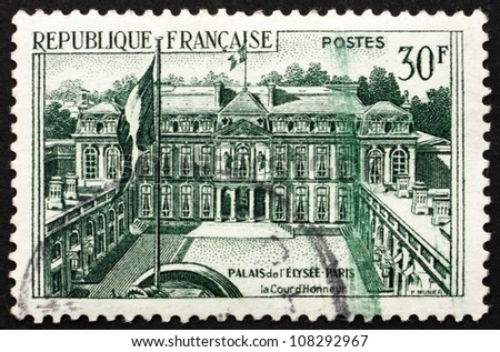 FRANCE - CIRCA 1959: a stamp printed in the France shows Elysee Palace, Official Residence of the President of the French Republic, Paris, France, circa 1959