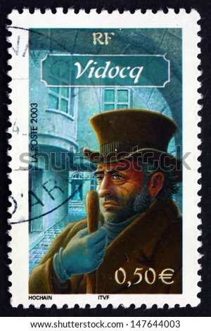 FRANCE - CIRCA 2003: a stamp printed in the France shows Eugene-Francois Vidocq, Convict and Police Official, Character from French Literature, circa 2003