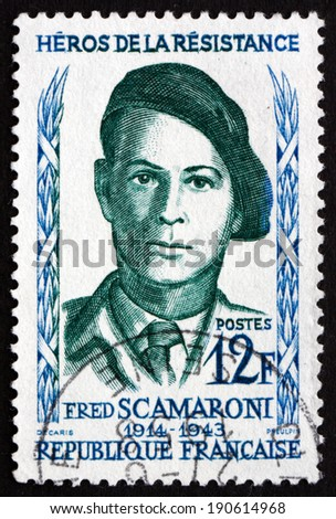 FRANCE - CIRCA 1958: a stamp printed in the France shows Fred Scamaroni, Hero of the French Underground in World War II, circa 1958 - stock photo