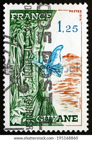 FRANCE - CIRCA 1976: a stamp printed in the France shows French Guiana, Overseas Region Located in South America, circa 1976 - stock photo