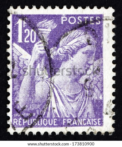 FRANCE - CIRCA 1944: a stamp printed in the France shows Iris, Goddess of Rainbow, Allegory, circa 1944 - stock photo