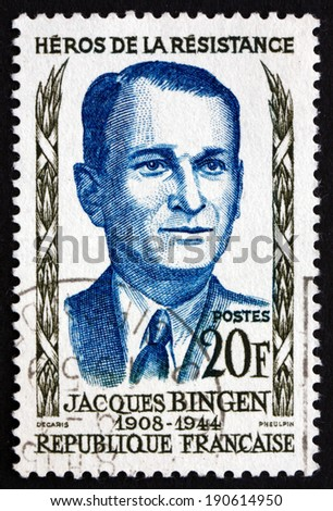 FRANCE - CIRCA 1958: a stamp printed in the France shows Jacques Bingen, Hero of the French Underground in World War II, circa 1958 - stock photo
