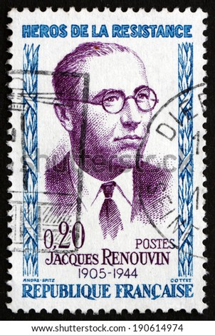 FRANCE - CIRCA 1961: a stamp printed in the France shows Jacques Renouvin, Hero of the French Underground in World War II, circa 1961 - stock photo