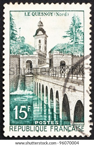 FRANCE - CIRCA 1957: a stamp printed in the France shows Le Quesnoy Bridge, circa 1957