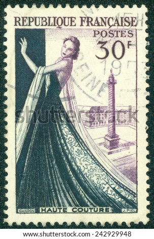 FRANCE - CIRCA 1953: a stamp printed in the France shows Mannequin, Dressmaking industry of France, circa 1953 - stock photo