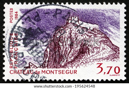 FRANCE - CIRCA 1984: a stamp printed in the France shows Montsegur Chateau, circa 1984 - stock photo