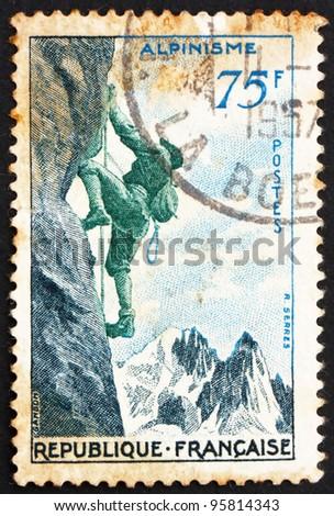FRANCE - CIRCA 1956: a stamp printed in the France shows Mountain Climbing, circa 1956 - stock photo