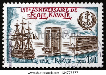 FRANCE - CIRCA 1981: a stamp printed in the France shows Naval Academy, 150th Anniversary, circa 1981