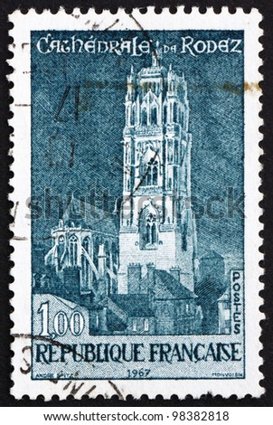 FRANCE - CIRCA 1967: A stamp printed in the France shows Rodez Cathedral, France, circa 1967