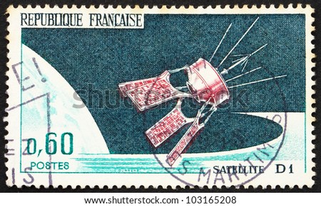 FRANCE - CIRCA 1962: a stamp printed in the France shows Satellite D1 into Orbit, circa 1962