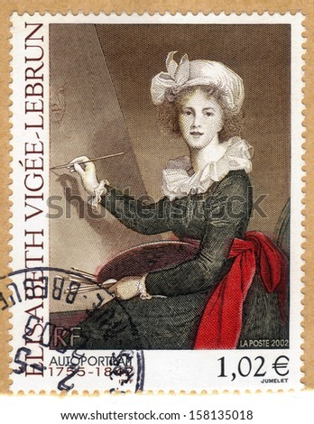FRANCE - CIRCA 202: a stamp printed in the France shows self-portrait by Elisabeth Vigee-Lebrun, french painter, circa 2002 - stock photo