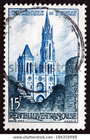 FRANCE - CIRCA 1958: a stamp printed in the France shows Senlis Cathedral, Oise, Roman Catholic Church, circa 1958