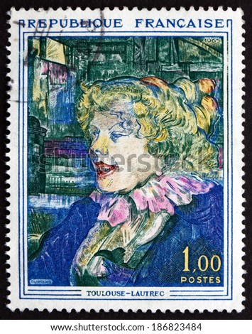 FRANCE - CIRCA 1965: a stamp printed in the France shows The English Girl from the Star, Painting by Toulouse-Lautrec, circa 1965