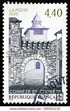 FRANCE - CIRCA 1995: a stamp printed in the France shows Town of Correze, Town in the Correze Department of the Region of Limousin, circa 1995 - stock photo