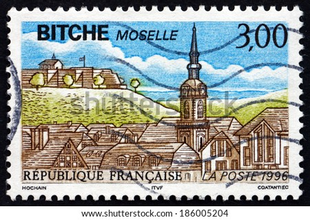 FRANCE - CIRCA 1990: a stamp printed in the France shows View of Bitche, Commune in the Moselle Department of the Region Lorraine, circa 1990 - stock photo