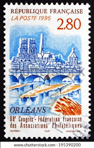 FRANCE - CIRCA 1995: a stamp printed in the France shows View of Orleans, City in North-central France, it is the Capital of the Loiret Department and of the Centre Region, circa 1995 - stock photo