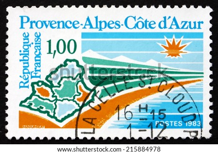 FRANCE - CIRCA 1983: a stamp printed in the France shows View of Provence-Alpes-Cote d'Azur, Region of France, circa 1983 - stock photo