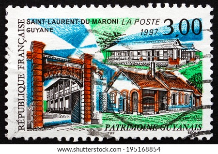 FRANCE - CIRCA 1997: a stamp printed in the France shows View of Saint-Laurent-du-Maroni, Commune of French Guiana, Overseas Region Located in South America, circa 1997 - stock photo
