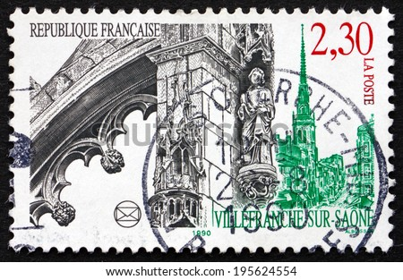 FRANCE - CIRCA 1990: a stamp printed in the France shows View of Villefranche-sur-Saone, Commune in the Rhone Department in Eastern France, circa 1990