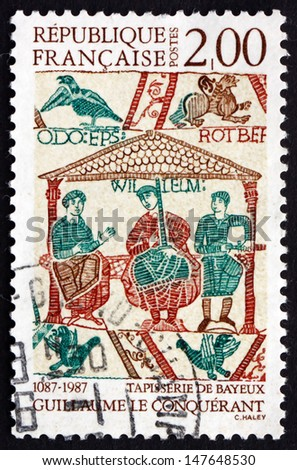 FRANCE - CIRCA 1987: a stamp printed in the France shows William the Conqueror, the First Norman King of England, Detail from Bayeux Tapestry, circa 1987 - stock photo