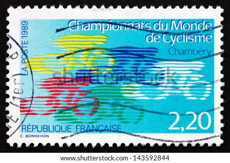 FRANCE - CIRCA 1989: a stamp printed in the France shows World Cycling Championships, Chambery, circa 1989 - stock photo