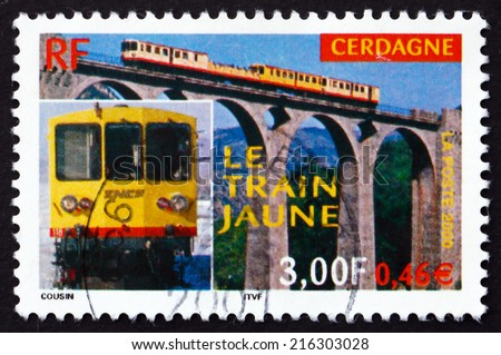 FRANCE - CIRCA 2000: a stamp printed in the France shows Yellow Train of Cerdagne, Centenary, circa 2000 - stock photo