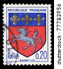 FRANCE - CIRCA 1965: A stamp shows image of a crest with a ship, circa 1965 - stock photo