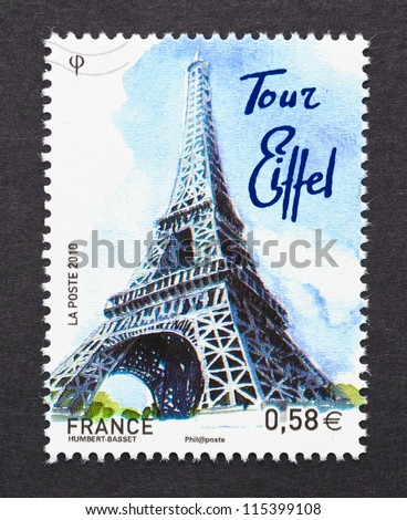 FRANCE - CIRCA 2010: postage stamp printed in France showing an image of the Eiffel Tower, circa 2010. - stock photo