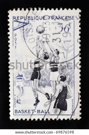 FRANCE - CIRCA 1956 - Postage stamp showing one of set of four stamps from France showing sports circa 1956