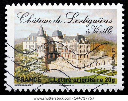 FRANCE - CIRCA 2012: stamp printed by France, shows Chateau de Lesdiguieres a Vixille, circa 2012