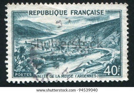 FRANCE - CIRCA 1949: stamp printed by France, shows Meuse Valley, Ardennes, circa 1949