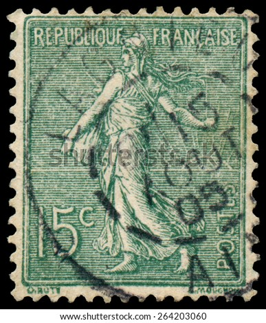 FRANCE - CIRCA 1906: stamp printed by France shows sowing, circa 1906  - stock photo