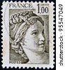 FRANCE - CIRCA 1978: stamp printed by France, shows The Sabine Women (detail) by Jacques-Louis David, circa 1978 - stock photo