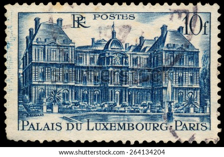 FRANCE - CIRCA 1946: Stamp printed in France shows view of The Luxembourg Palace in Paris (Palais Du Luxembourg), circa 1946.
