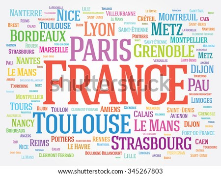 France cities word cloud concept background