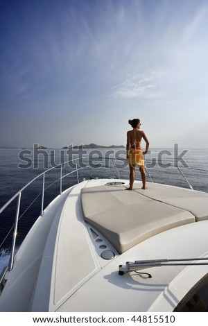 France, Corsica, Girolata Marine National Park, luxury yacht, on board - stock photo