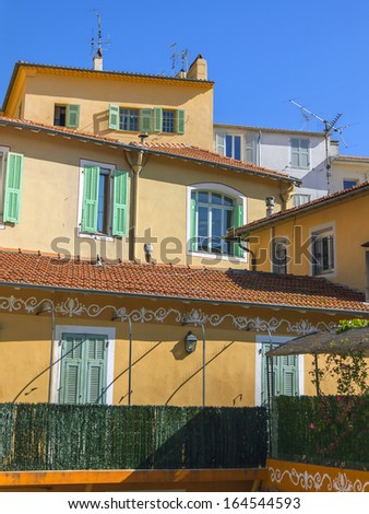France, Cote d'Azur, Villefranche. Architectural details of houses that are typical Provencal style