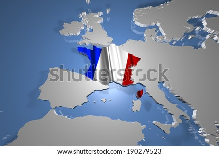 France Country Map on Continent 3D Illustration