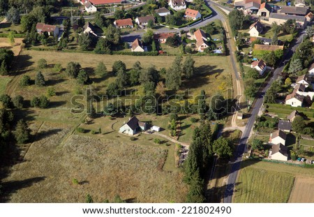 france country suburbs aerial view - stock photo