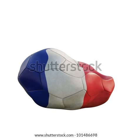 france deflated soccer ball isolated on white - stock photo