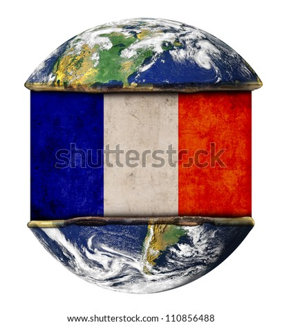 France earth globe flag. Elements of this image furnished by NASA.