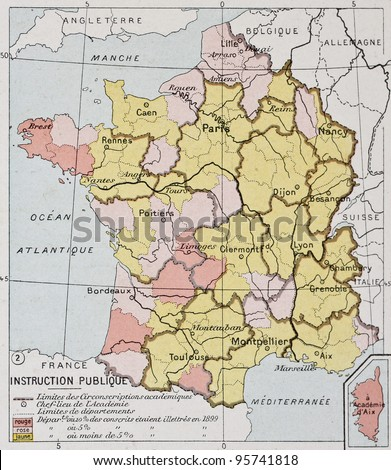 France education old map. By Paul Vidal de Lablache, Atlas Classique, Librerie Colin, Paris, 1894 (first edition) - stock photo