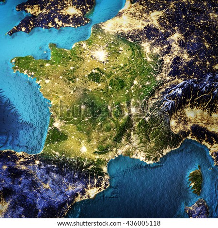 France. Elements of this image furnished by NASA. 3D rendering - stock photo