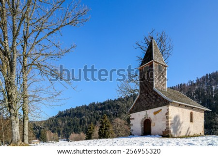 France - FEB 19: Beautiful small church set among the snow on February 19 2015 in Longemer, France