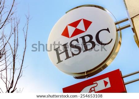 France - FEB 12: HSBC Bank on February 12 2015 in Paris, France - stock photo