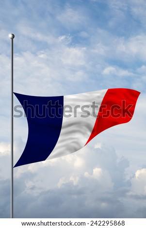 France flag at half mast, flag down - stock photo