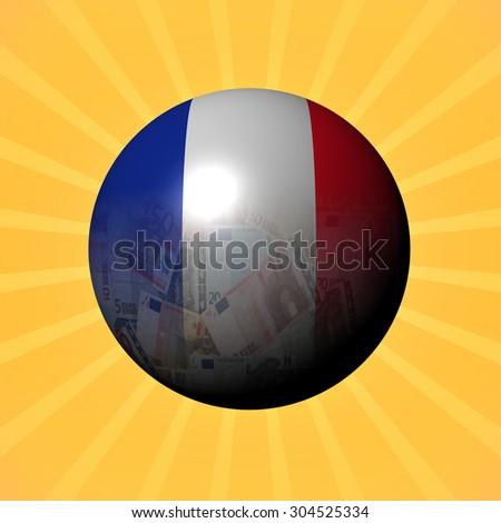 France flag euros sphere on sunburst illustration - stock photo