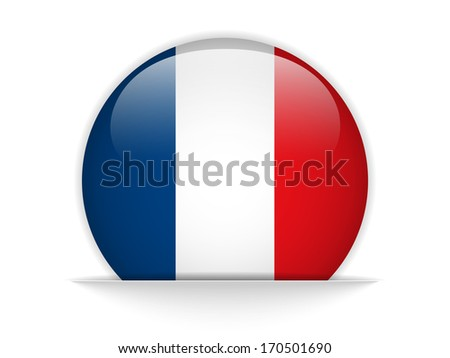 France Flag Glossy Button - stock photo