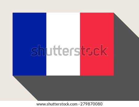 France flag in flat web design style. - stock photo