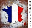 France flag,map and wall background - stock photo